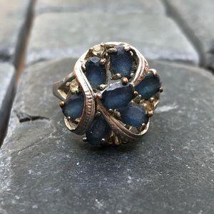 Blue crystal cluster ring